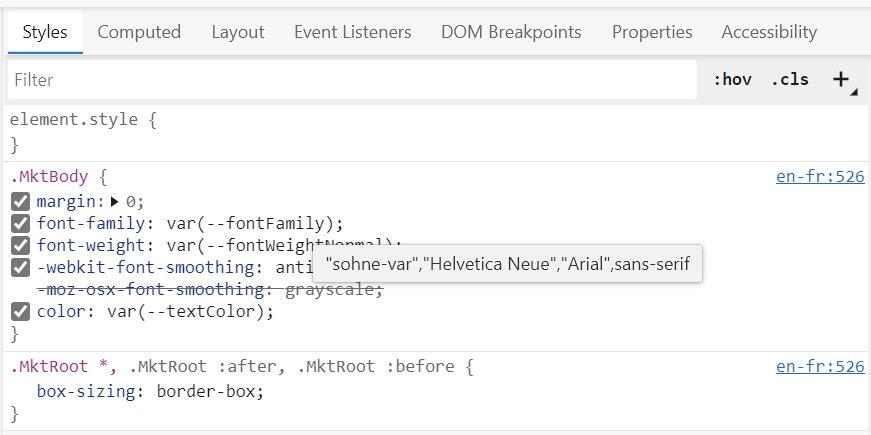 Screenshot of the tooltip that appears in Edge when you hover over a var() function
